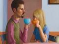 Tee trinkendes Paar, 2012, 60x40, Mischtechnik auf MDF